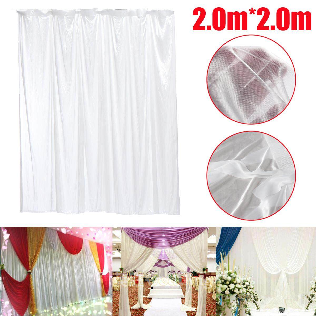 White Wedding Party Backdrop Curtain Drape Stage Background Decor Studio - intl