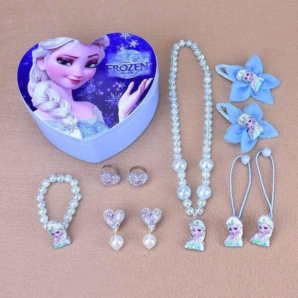 Kalung Anak Kotak Perhiasan Perempuan Putri Bayi Gelang Cincin Anting-Anting Jepit Rambut Gadis Kecil Aksesoris Liar Salju Putih Set (Beku Setelan Biru) -Internasional