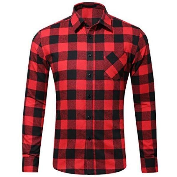 Wulful Mens แขนยาวลายสก๊อตเข้ารูปแบบปกติปุ่มเสื้อ Flannel ชุดทำงานลำลองเสื้อ - Intl.