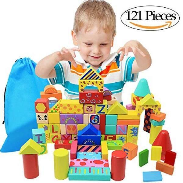 Neowows 121 Pieces Blok Bangunan Mainan Konstruksi Mencakup 41 Pieces Domino dan Membawa Tas untuk untuk Anak-anak-Internasional
