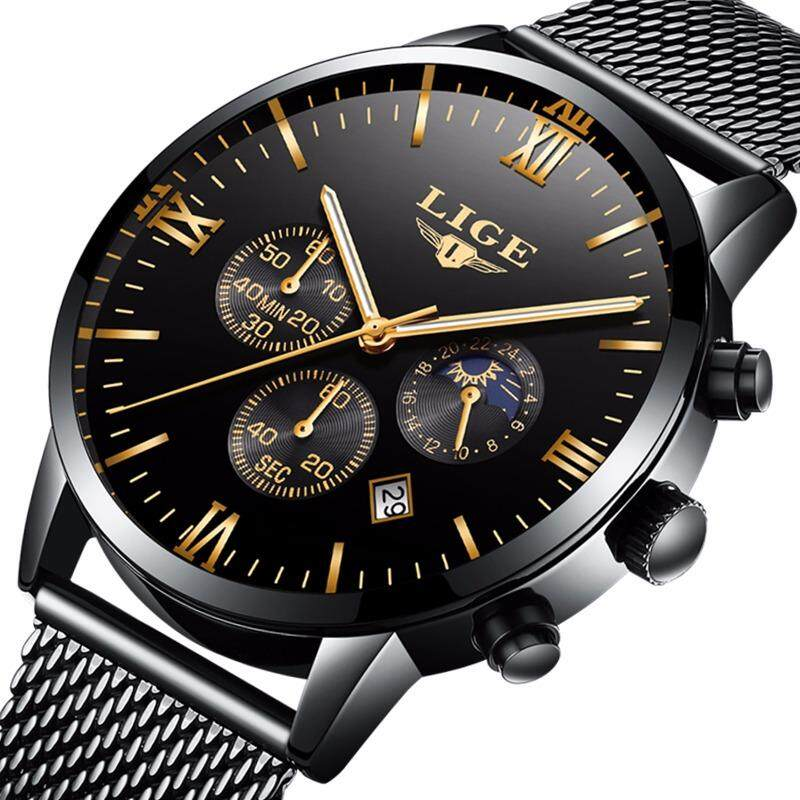 LIGE Mens Watches Top Brand Luxury Casual Quartz Watch Men Steel Mesh Strap Business Waterproof Sports Watches Gift Box - intl