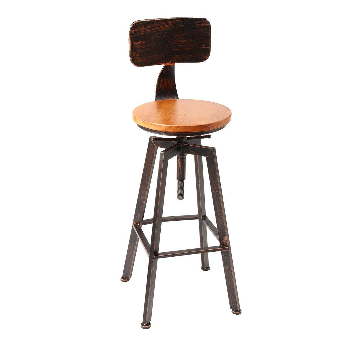 iron bar chairs solid wood bar stool retro industrial design rotating lift high chair dining Black