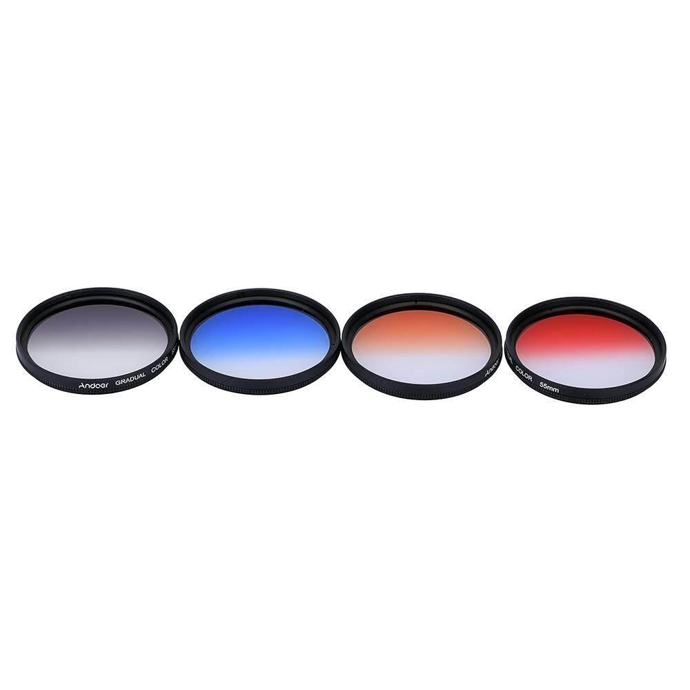 Andoer Profesional 55 Mm GND Filter Graduasi Set GND4 (0.6) abu-abu Biru Oranye Merah Graduasi Netral Densitas Penyaring untuk Canon Nikon DSLR 55 Mm Lensa Kamera-Intl