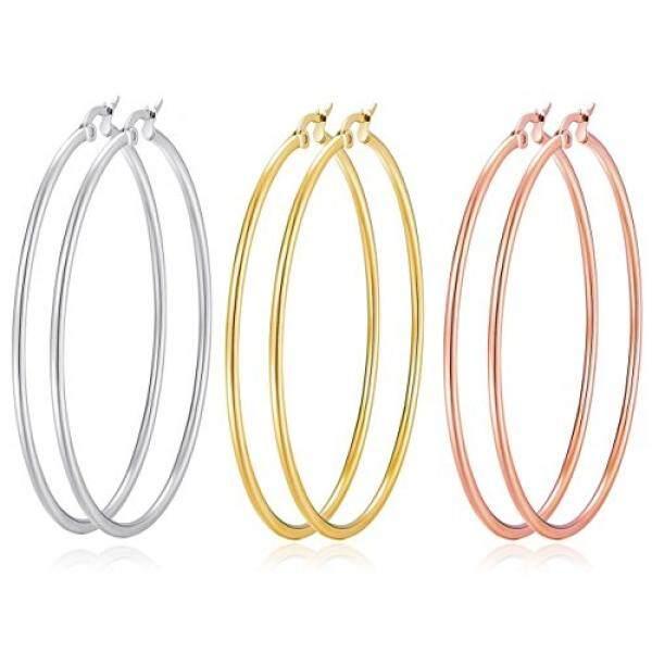 Rose Gold Hoop Earrings Sleeper Big Round Silver Black Color Womens Gift FEGoxpc1Wq