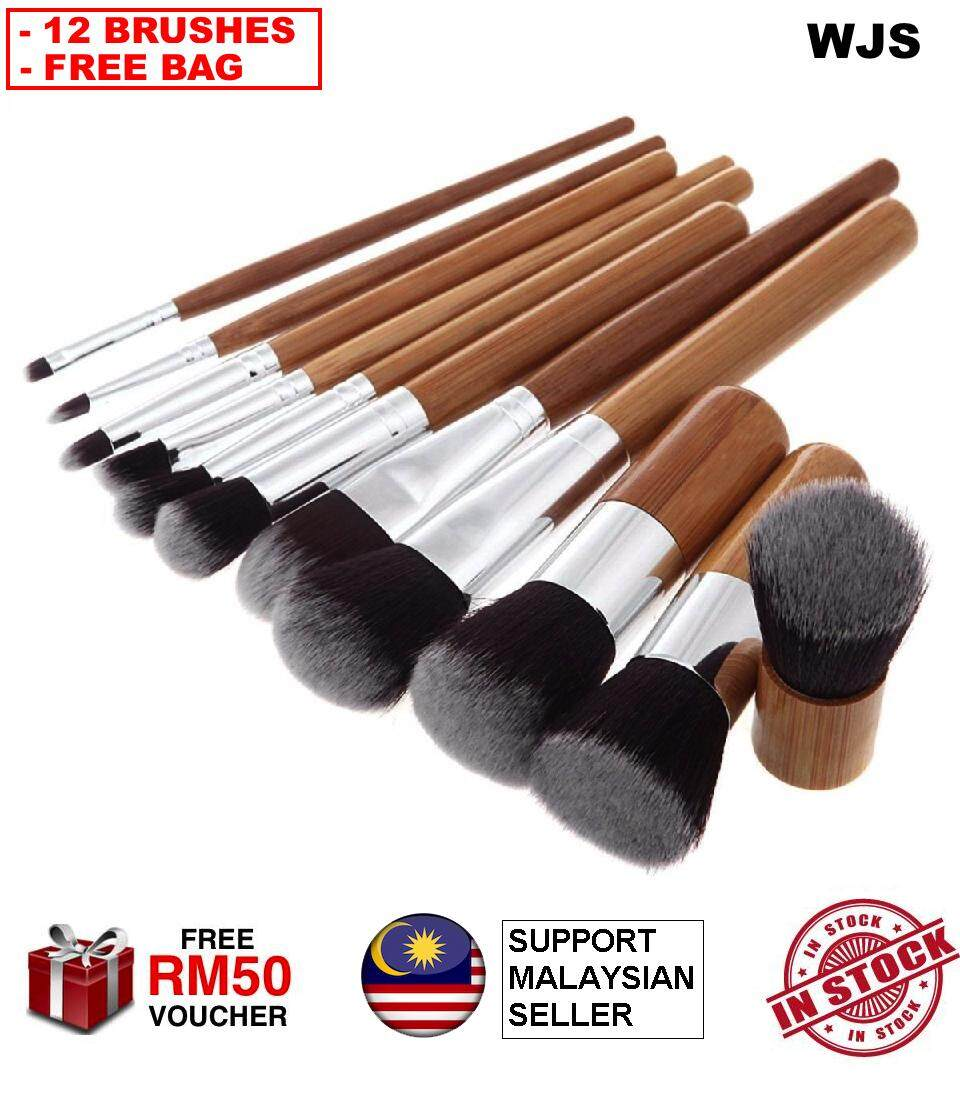 (HALAL BRUSH & FREE BAG) WJS HALAL Cosmetic New 12 Piece 12pcs Makeup Make up Brush Set Bamboo Handle Premium Synthetic Kabuki Foundation Blending Blush Concealer Eye Face Liquid Powder Cream Cosmetics Brushes Kit With Bag [FREE RM50 VOUCHER]
