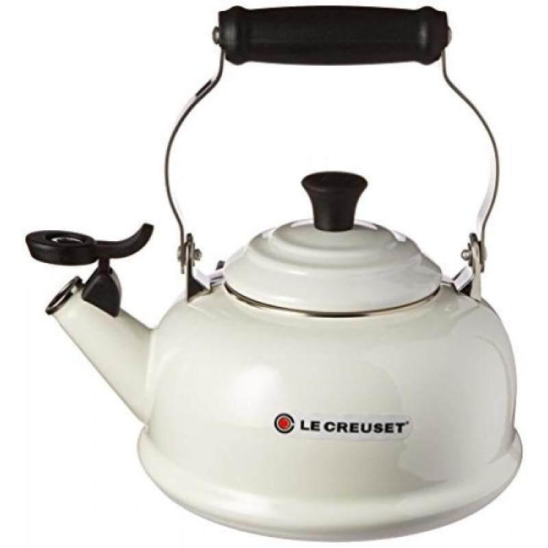 Le Creuset Enamel-on-Steel Whistling 1-4/5-Quart Teakettle, White - intl Singapore