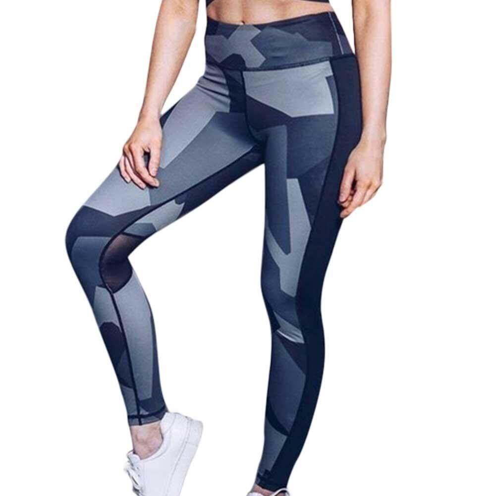 Print Mesh Patchwork Women Yoga Pants Slim High Waist Sports Leggings Push Up Gym Fitness Elastic