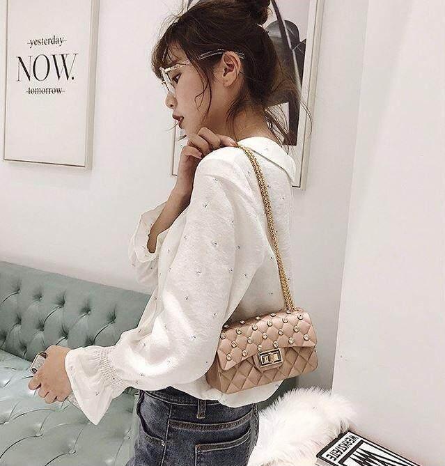 ... Korean Style Rose Gold Elegant Diamond Matte Jelly Sling Bag ...