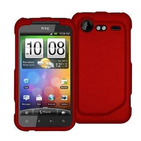 Merah Karet Tempatkan-On Keras Kulit Case Sarung untuk HTC Droid Incredible 2 6350-Internasional