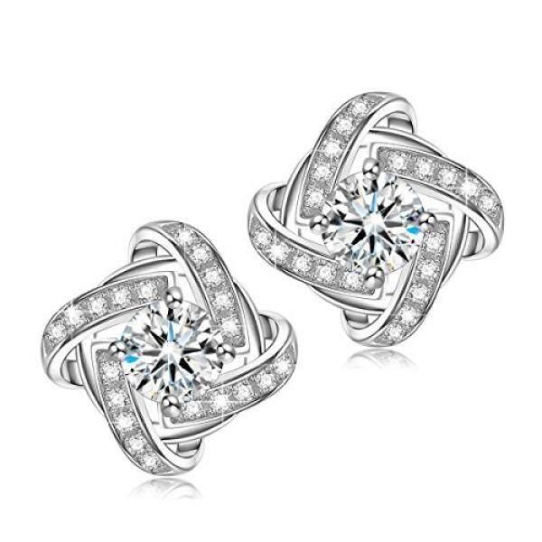 Ninasun Dance A Ballet Hypoallergenic 925 Sterling Silver Earrings Cz Stud Fine Jewelry For Women