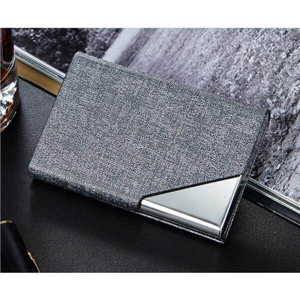 9458b43e751c Card Holder Luxury PU Leather   Stainless Steel Multi Card Case Business  Name Card Holder Wallet