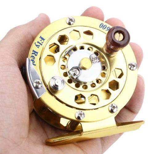 BF600 PORTABLE ALUMINUM CUT FLY FISHING VESSEL REELS GOLD DISK DRAG WITH RETAIL BOX (GOLDEN)