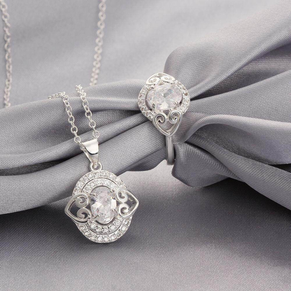 Free Shipping 2015 new style 925 silver plated jewelry sets for sale (White)