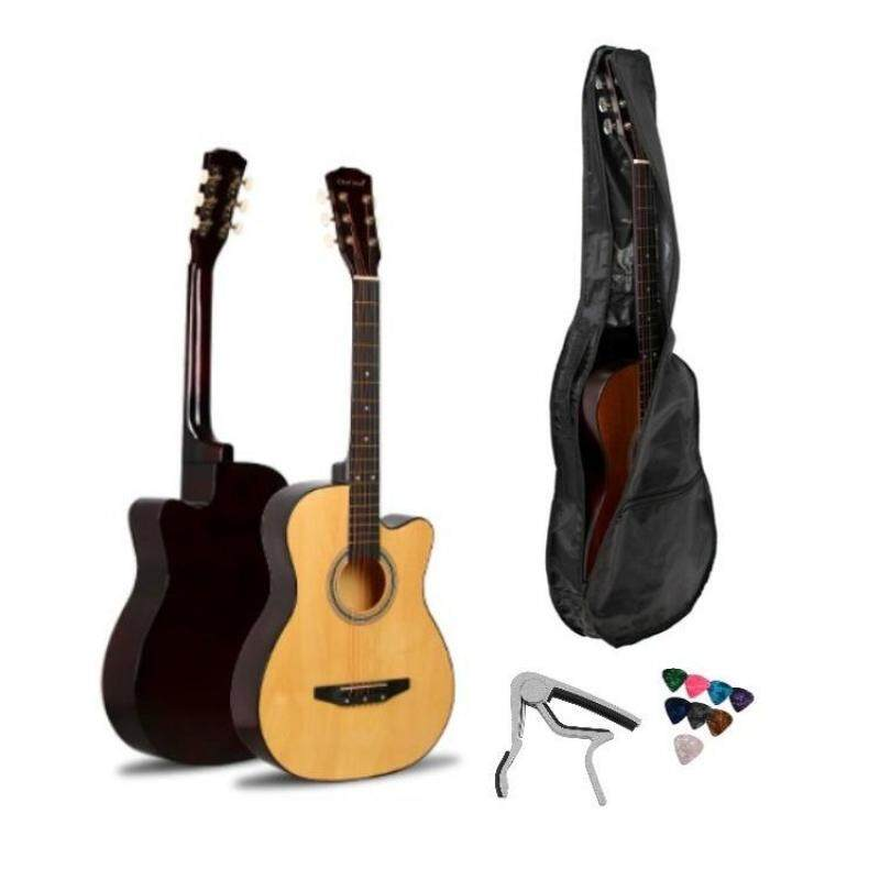 Acoustic Guitar 38 Inch With Guitar Bag, Capo Clamp and Pick - 7209 Malaysia