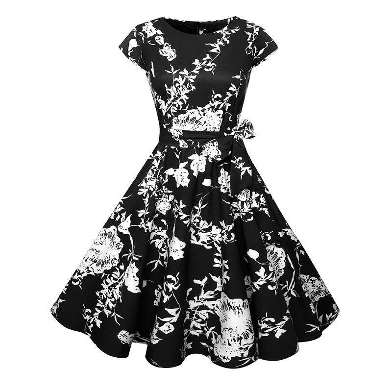 Best Price Floral Print Women Summer Dress 2018 Hepburn 50S 60S Retro Rockabilly Vintage Dress Party Casual Runway Plus Size Wq1032 Intl