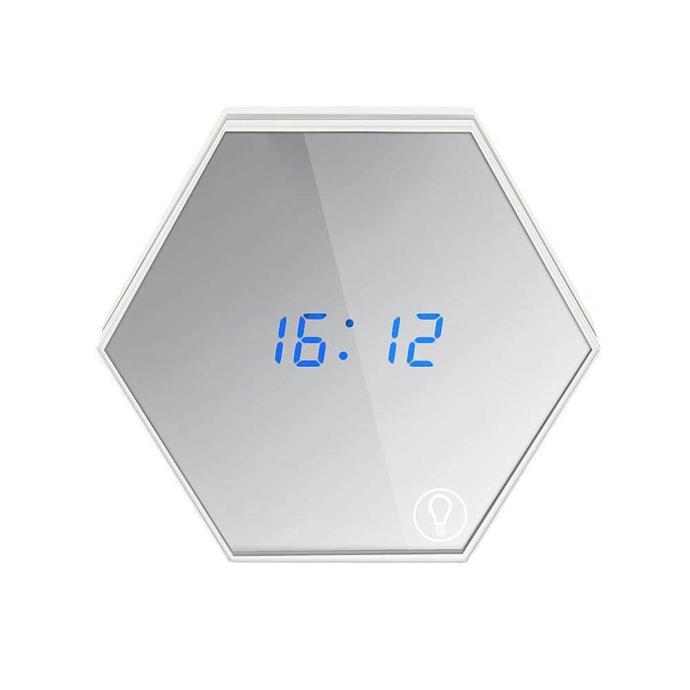 AOJBTENG Digital Morning Alarm Clock, Kobwa 4 in 1 USB Rechargeable Snooze Travel Alarm Clock With Makeup Mirror, Temperature Display And Touch Dimmable Night Light