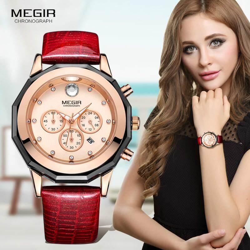 Megir Merek Mewah Wanita Watch Chronograph Fashion Leather Pergelangan Tangan QUARTZ Jam Cewek untuk Pecinta Wanita Gaun Jam Tangan Clock 2042