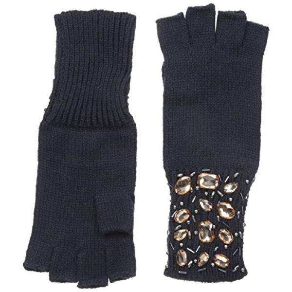 San Diego Hat Company Womens Knit Fingerless Jeweled Gloves, Navy, One Size - intl