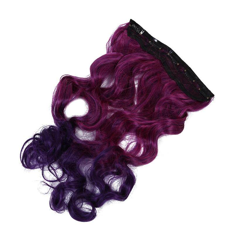 Features Clip In On Curly Blue Purple Hair Extension Fiber Hairpiece