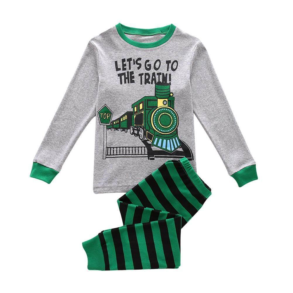 Anak-anak Bayi Laki-laki Lengan Panjang Celana Leher Bulat Set Lucu Pola Kereta Cetak Pakaian 2 Pcs Pakaian Clothesgreen Kereta 130cm7y -Internasional