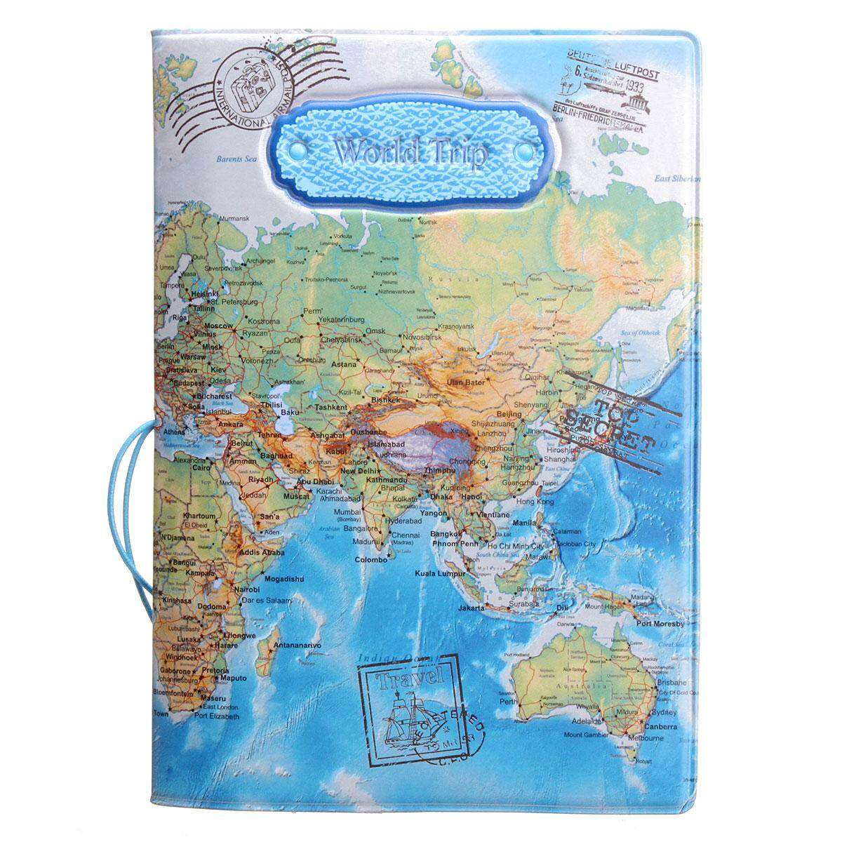Leather World Map Passport Holder Organizer Travel Card Case Document Cover HOT Blue