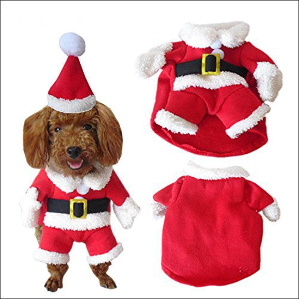 Ybc Pet Christmas Costume Dog Suit+cap Santa Claus Coat Hoodies - Intl By Your Bestchoice.