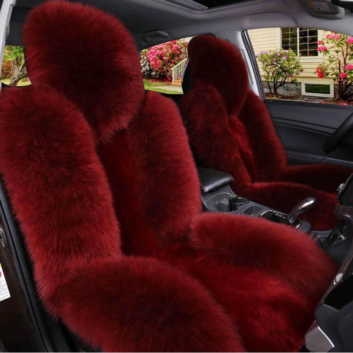 1 PC Mobil Asli Kulit Domba Australia Depan Kursi Sarung Panjang Wol Bulu Merah-Warna