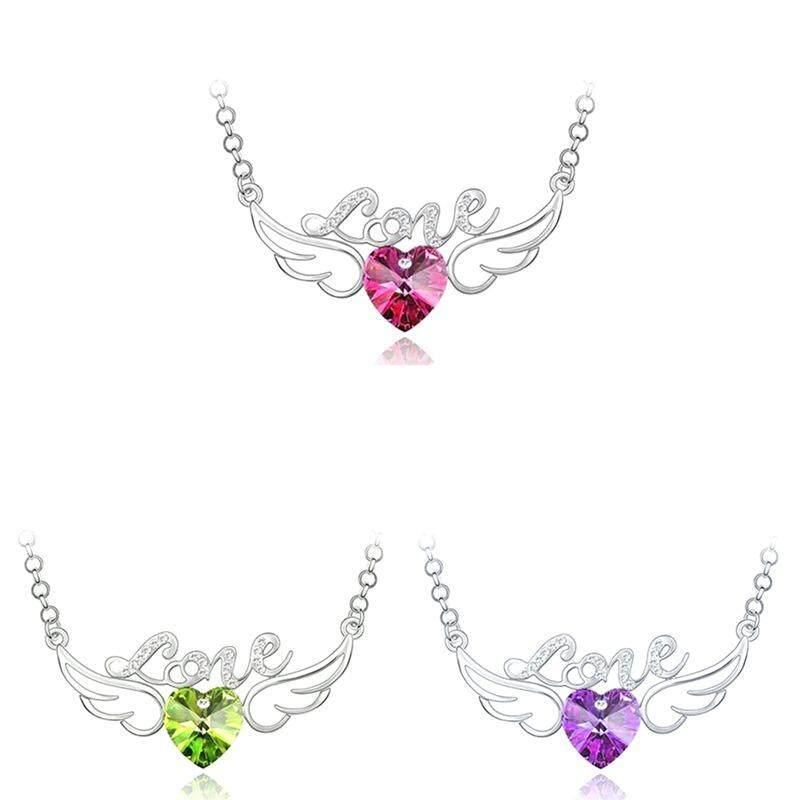 ... Fancyqube Wanita Mode Clavicle Rantai Kristal Peach Jantung Malaikat Wings Cinta Huruf Liontin Kalung-Internasional ...
