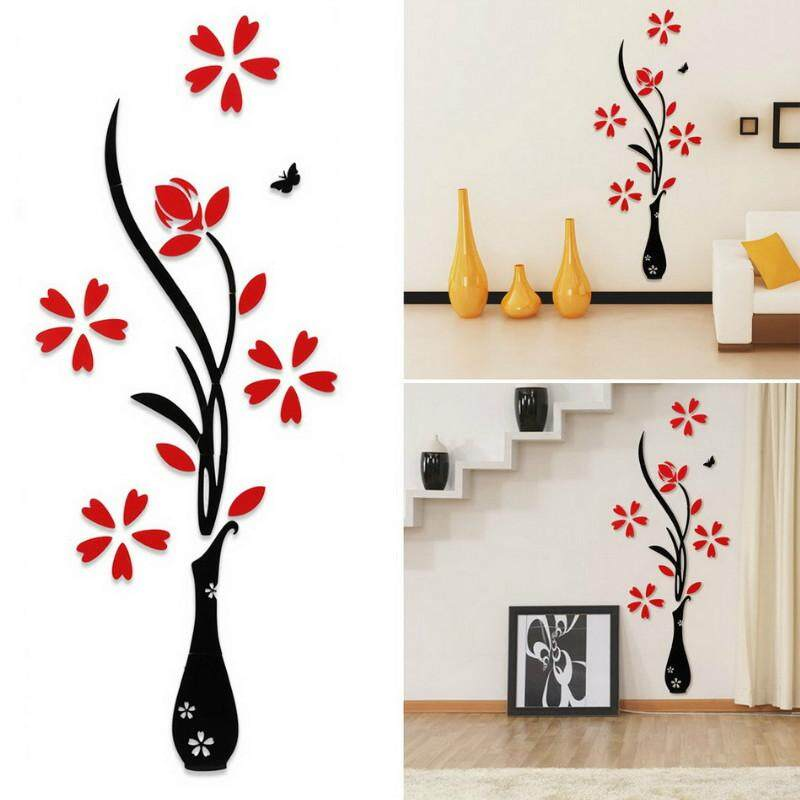 Vase plum 3d crystal stereo wall sticker living room sofa TV background wall entrance decoration # S - intl