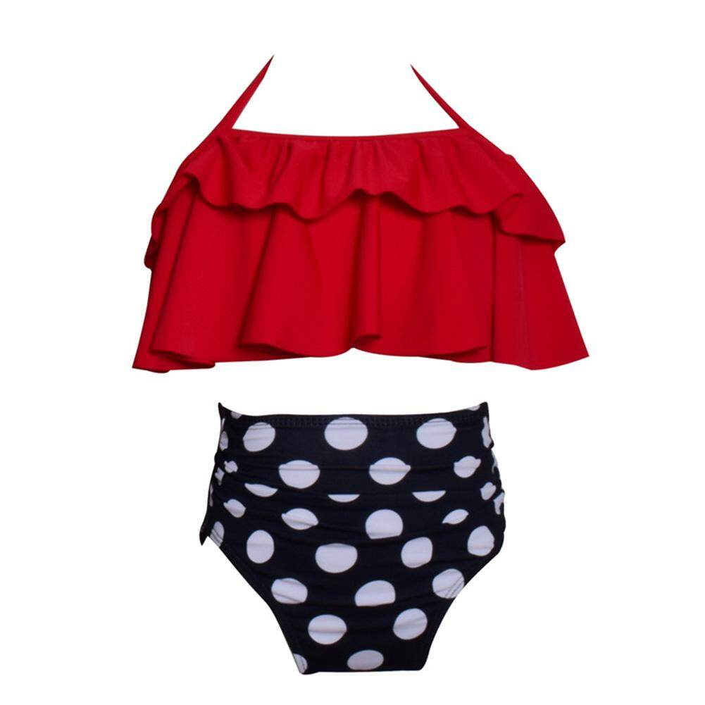 2pcs/set Parent-Child Bikini Swimsuit Set Ruffled Chest Wrap Dotted Briefs Holiday Beach Outfits Gift.