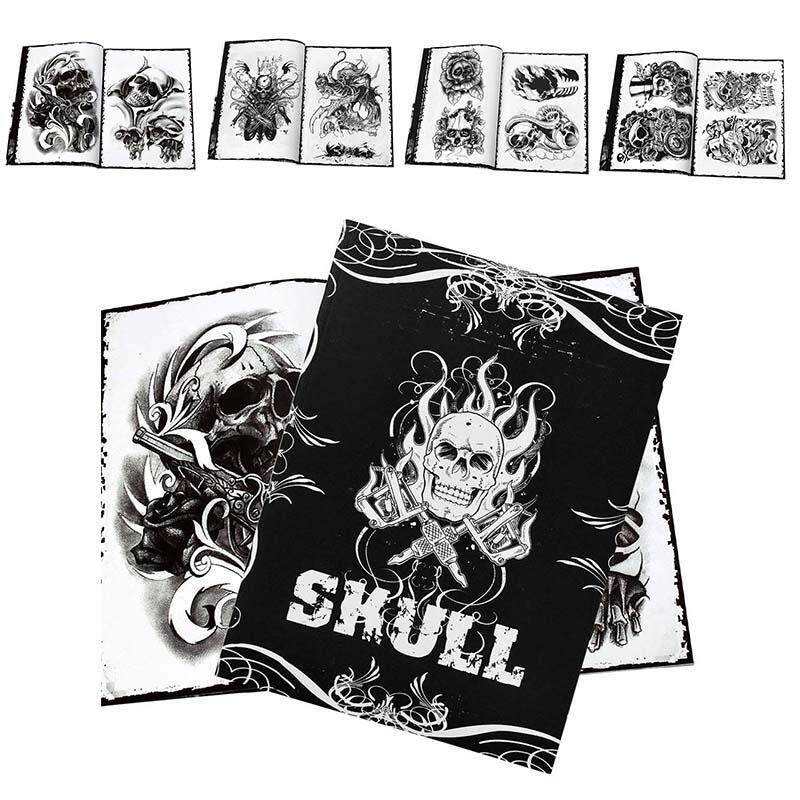 Traditional Tattoo Book Professional 76 Pages Skull Design Tattoo Art Supplies