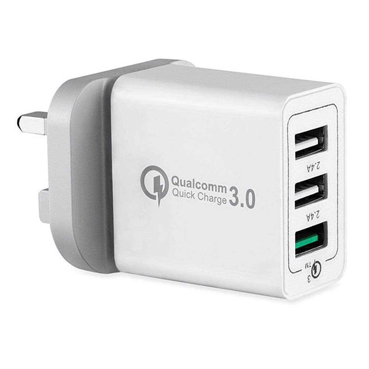 Mini Smile Universal 42w Qc3.0 Quick Charge 3-Port Power Adapter Wall Fast Charger - White (uk Plug) By Extreme Deals.