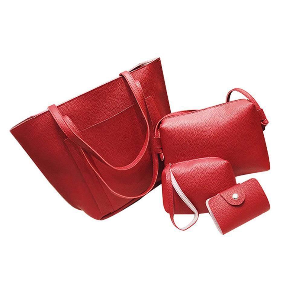 Hình ảnh voogol 4pcs/set Women PU Leather Handbags Single Shoulder Bags Card Coin Purse Wallet Small Messager Pure Color Totes Bag - intl