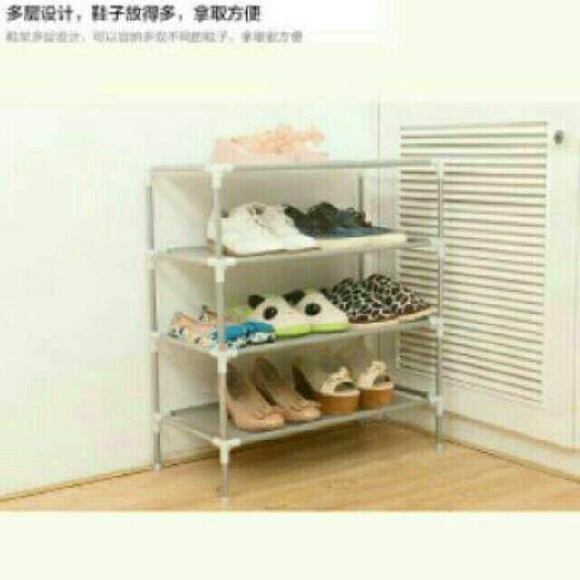 4 Tiers Shoes Storage Rack Rak Kasut