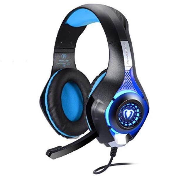 PS4 Gaming Headset, Joso 3.5mm LED Light Over-Ear Headphones with Microphone/Volume Control for iPhone SE 6 6S Plus, Samsung, PC Laptop Tablet with 2-in-1 Audio and Mic Splitter Adapter-Blue - intl