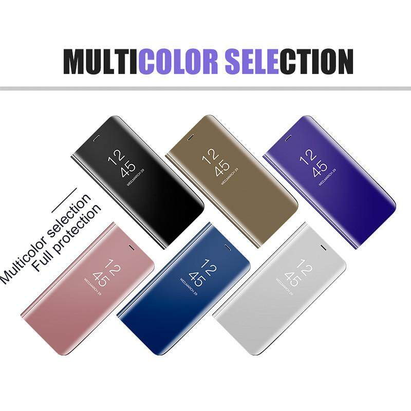 Detail Gambar Translucent View Mirror Flip Electroplate Stand Case Cover for OPPO F7 Terbaru