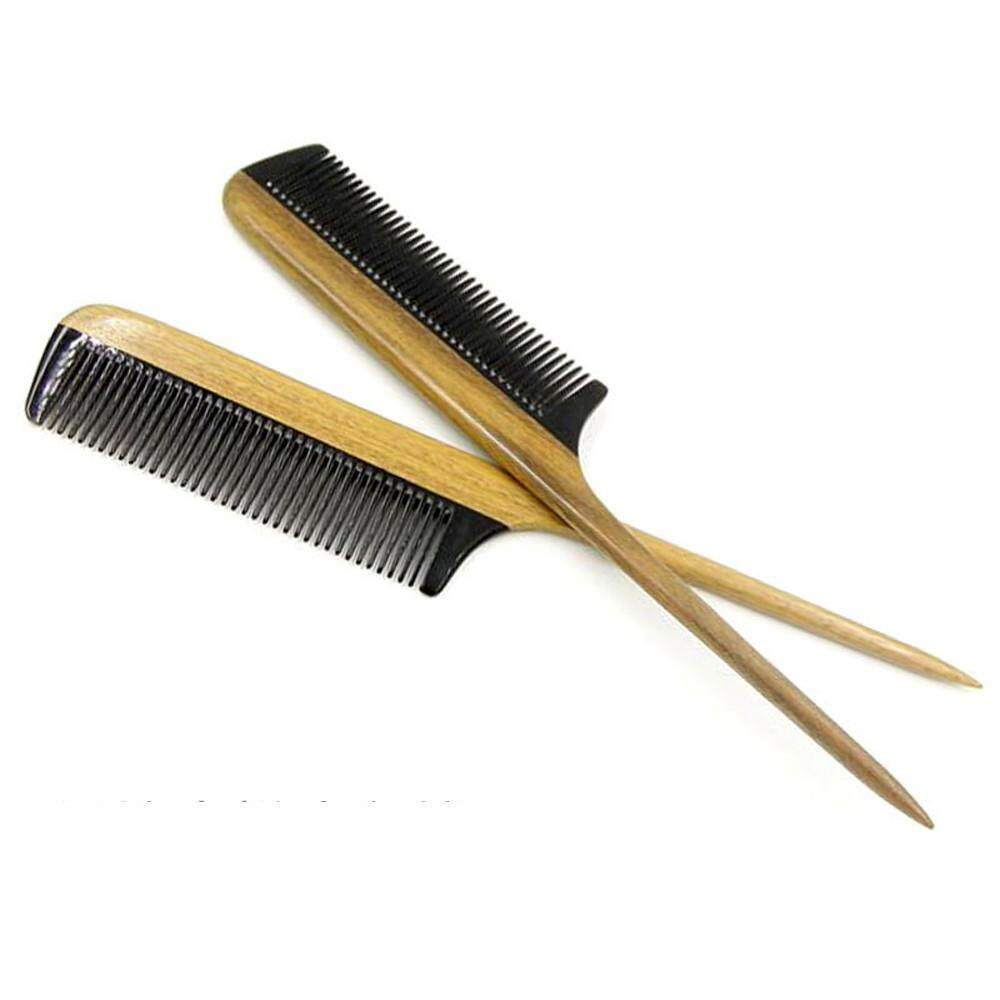 Jual Seksi Modis Klakson Comb Pegangan Kayu Rambut Comb Besar Runcing Gigi Buatan Tangan Sikat Rambut-Internasional