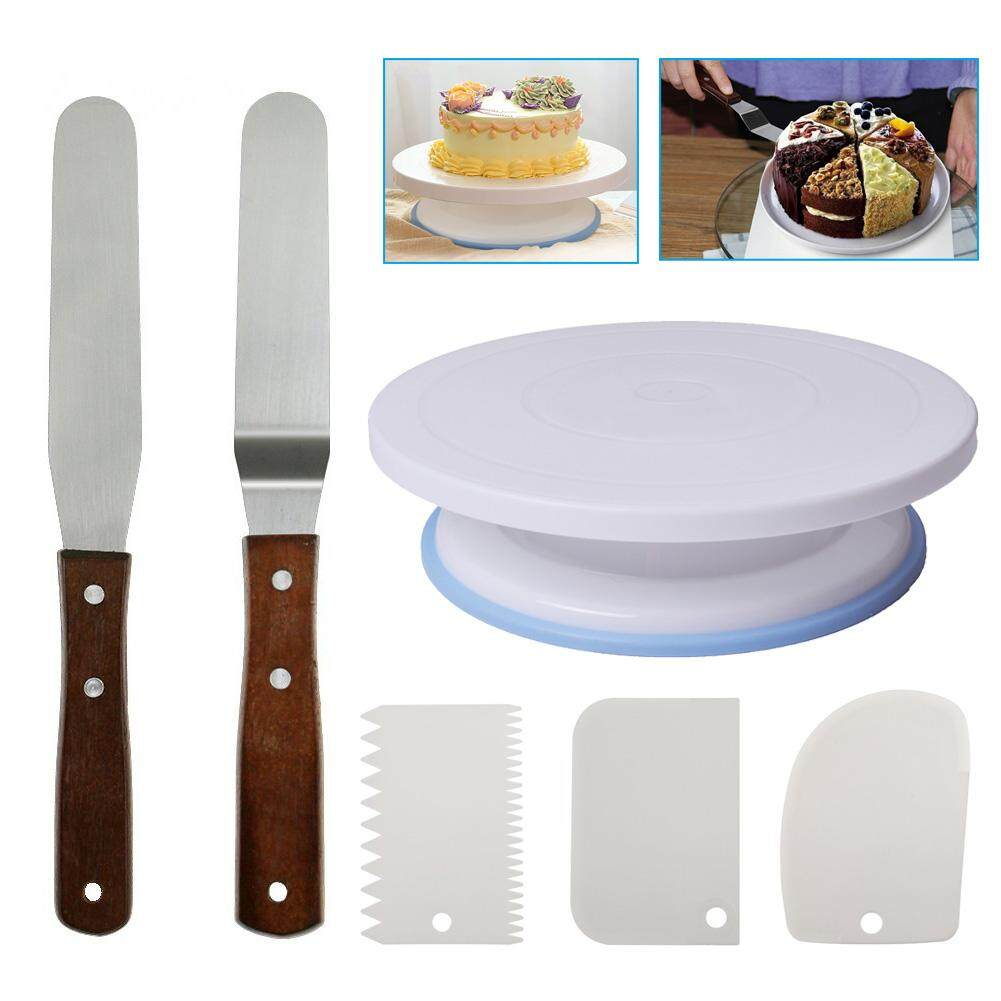 1 Set Turntable Rotating Cake Stand With Smoother Icing Spatula Best Buy