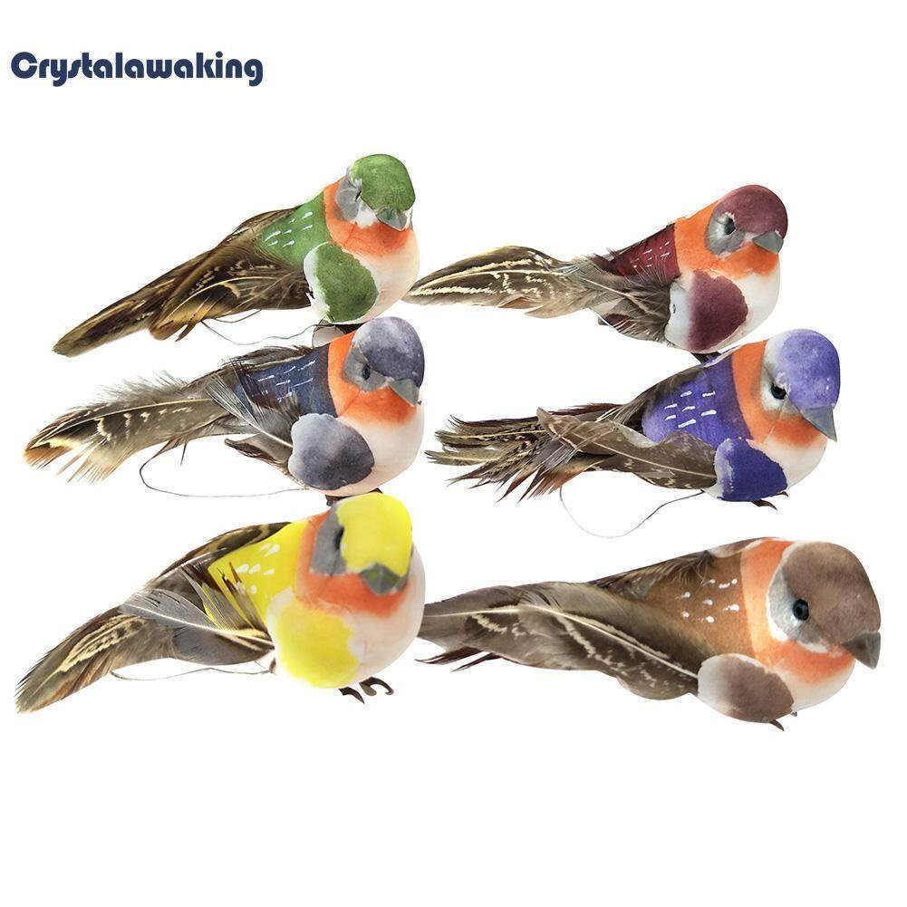 12pcs Artificial Foam Feather Birds DIY Crafts Ornament Home Garden Decoration (Multicolor) - intl
