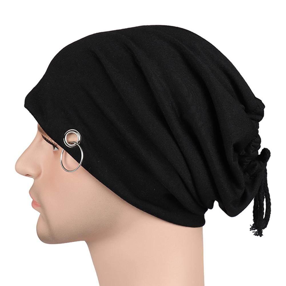 9b5e964899a Fashion Adult Men Lacing Beanie Autumn Bonnet Skull Cap With Ring Unisex Hip  Hop Hat -