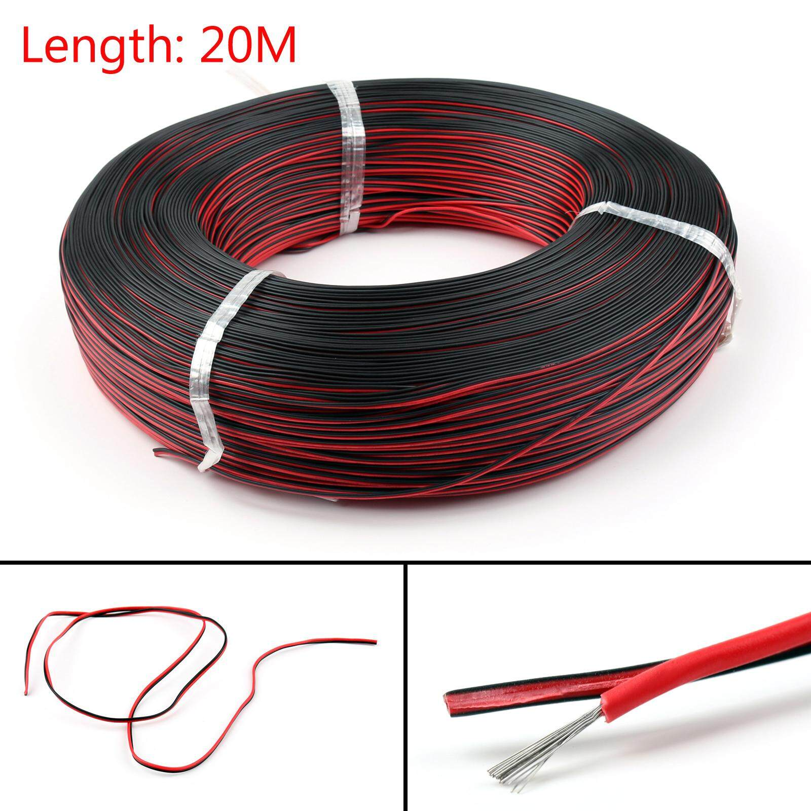 Areyourshop 20M 2Pin 20AWG Extension Red Black Wire Cable Cord for 3528 5050 5630 LED Strip - intl