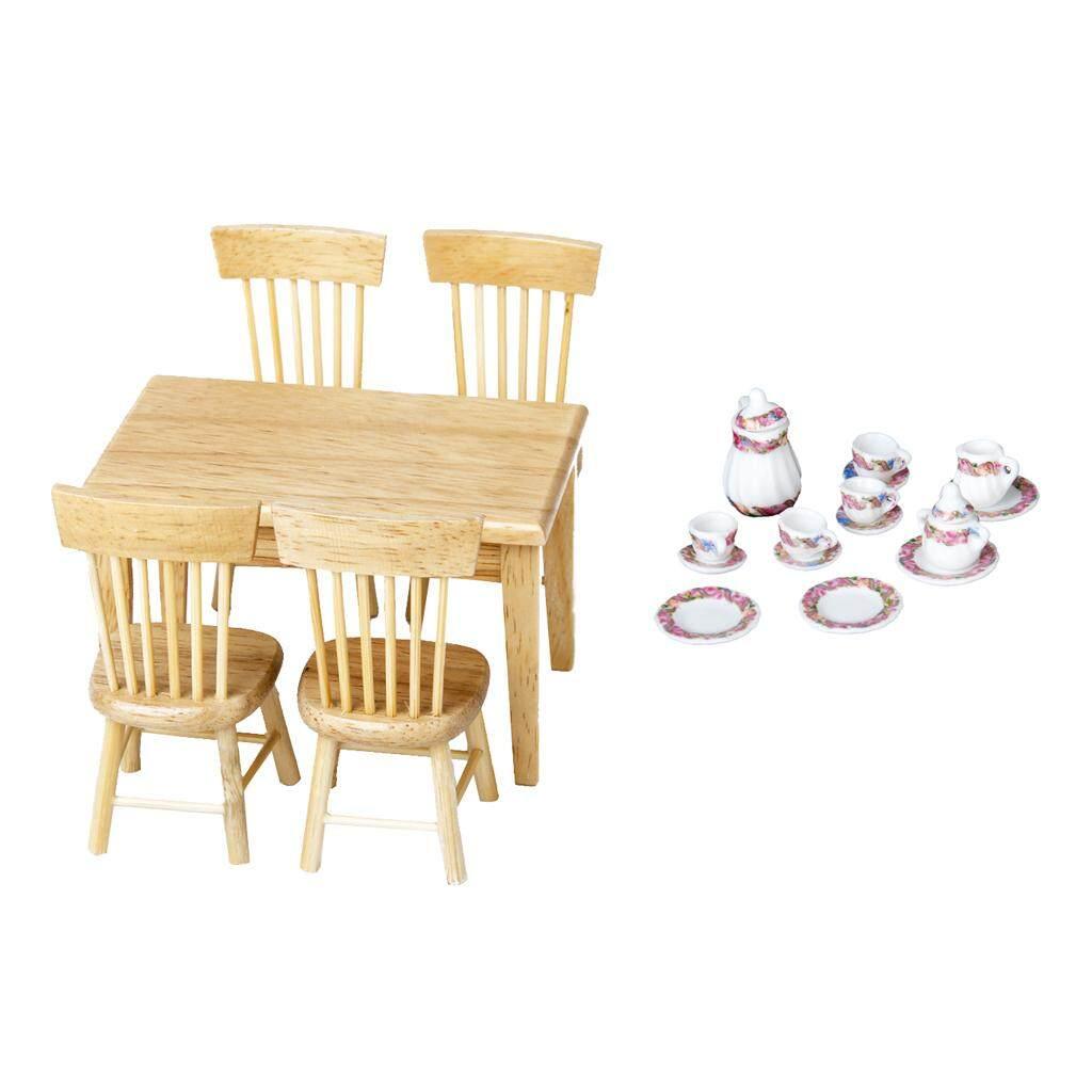 BolehDeals 1/12 Dolls House Miniature Wood Furniture 5pcs Table Chair 15pcs Porcelain Tea Coffee Set Dolls Dining/Living Rooms Items Decor - intl