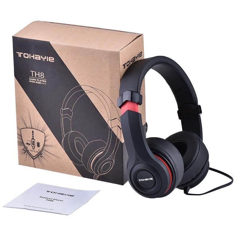 Detail Gambar Tohayie Stereo Berkabel Headphone Permainan Musik DJ Headphone dengan Kontrol Volume dan Mikrofon 3.5