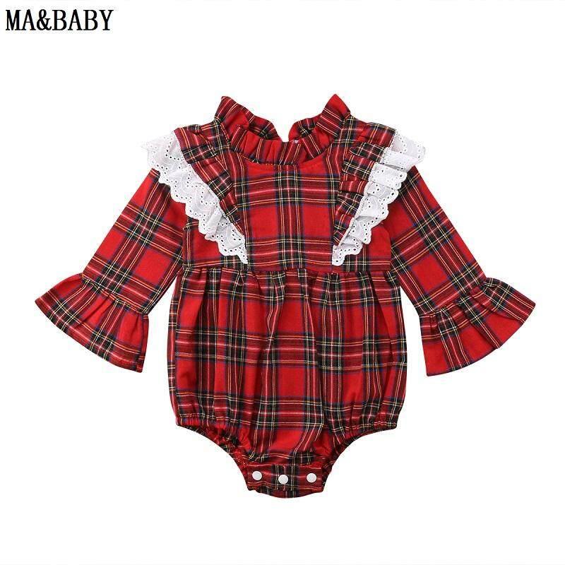 Baru Lahir Anak-anak Bayi Perempuan Renda Cek Jumpsuit Bodysuit Jumpsuit Pakaian (Jumpsuit)