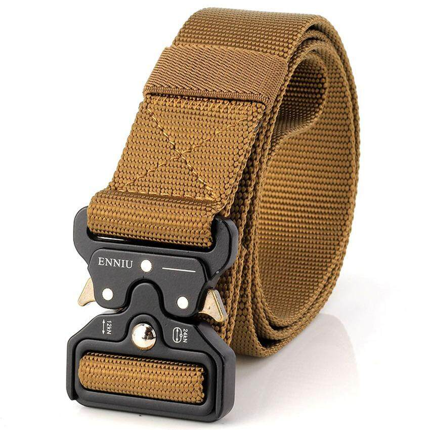 Military Tactical Belt Nylon Webbing Riggers Web Belt with Heavy-Duty Quick-Release Metal Buckle -