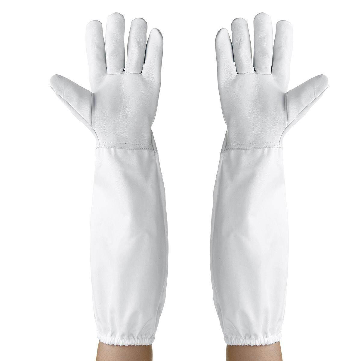 1Pair Protective Vented Long Sleeves Goatskin Bee Keeping Tool Beekeeping Gloves - intl