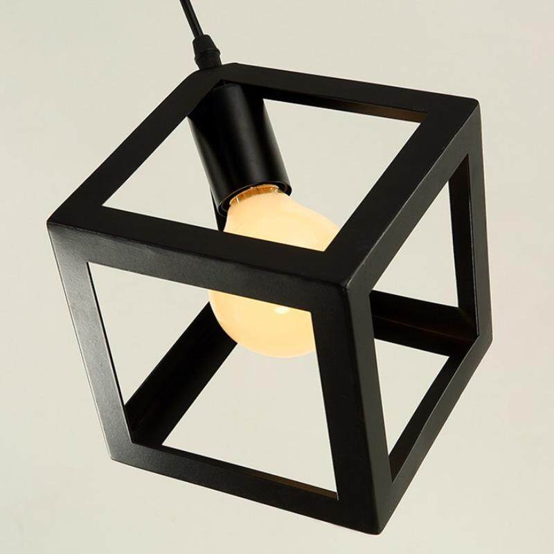 Industrial Cube Metal Pendant Light Accessory, Loft Ceiling Lamp for Home, Bar, Cafe