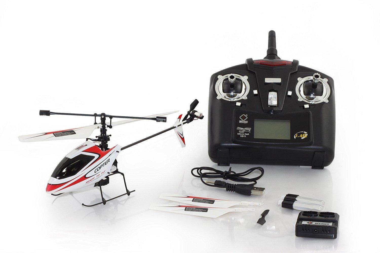 Mainan Indah 4CH 2.4 GHz Mini Radio Tunggal Baling-Baling RC Helicopter Gyro V911 RTF Merah & PUTIH