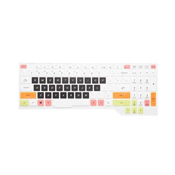 Leze-Ultra Tipis Lembut Lapisan Pelindung Papan Ketik Sampul untuk ASUS FX503VD, ROG Strix GL503VD GL703VD Gaming Laptop-Putih Hitam