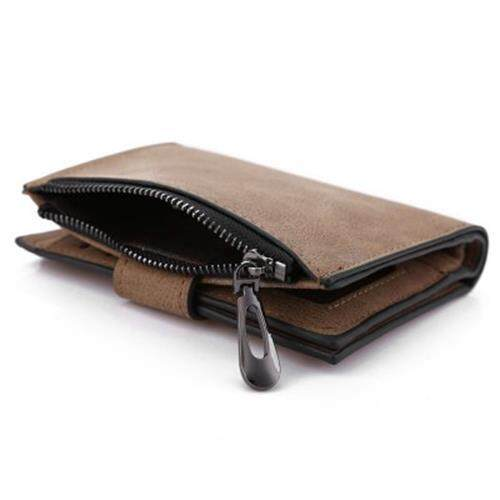 GUAPABIEN SOLID COLOR LETTER SNAP FASTENER ZIPPER SHORT CLUTCH WALLET FOR LADY (COFFEE)